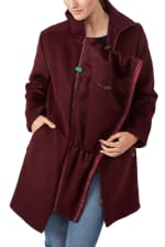 Modern Eternity Khloe 3-in-1 Wool Maternity Coat Semi-Fitted - Burgundy - Front
