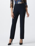 Roz & Ali Secret Agent Pull On Tummy Control Pants with L Pockets - Petite - Navy - Front