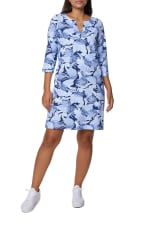 Caribbean Joe Yoke Neck Dress - Navy - Front