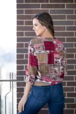 Westport Patchwork Tie Front Shirt - Multi - Back