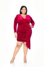Juliana Draped Dress - Plus - Raspberry - Front