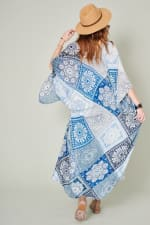 Long Mixed Print Kimono - Navy - Back