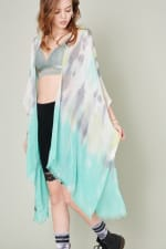 Multi Color Tie Dye Kimono - Mint - Front
