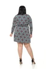 Diana Geo Print Wrap Dress - Plus - Emerald - Back