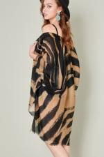 Zebra Print Kimono - Beige / Black - Back