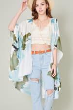Brush Stroke Print Kimono - Green - Front