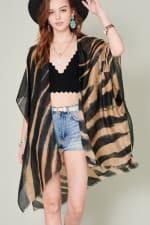 Zebra Print Kimono - Beige / Black - Front