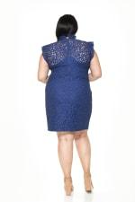 Kendall Lace Cap Sleeve Sheath - Plus - Navy - Back