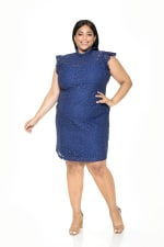 Kendall Lace Cap Sleeve Sheath - Plus - Navy - Front