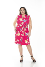 Savannah Sleeveless Wrap Sheath - Plus - Pink Floral - Front
