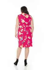 Savannah Sleeveless Wrap Sheath - Plus - Pink Floral - Back