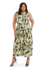 Julia Tropical Print Sleeveless Collar Jumpsuit with Tie Waist - Plus - 5
