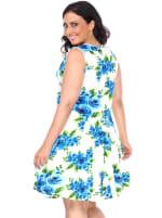 Crystal Round Neck Floral Print Dress - Plus - Blue Flowers - Back