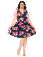 Plus Floral Print 'Crystal' Dress - 36