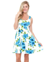 Floral Crystal Fit and Flare Dress - 25