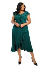 Kira V-Neck Cap Sleeve Ruffle Wrap Midi Dress - Plus - 3