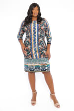 Danielle 3/4 Sleeve Printed Stripe Shift Dress - Plus - Navy / Orange - Front