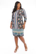 Danielle 3/4 Sleeve Printed Stripe Shift Dress - Plus - 3