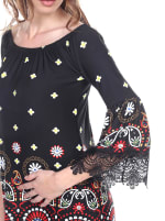 Rakel 3/4 Bell Sleeve Lace Hemline Dress - Black - Detail