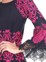 Alta 3/4 Sleeve Empire Waist Dress - Fuchsia - Detail