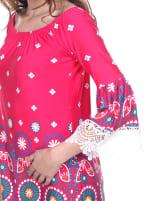 Rakel 3/4 Bell Sleeve Lace Hemline Dress - Fuchsia - Detail