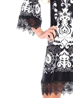 Uniss 3/4 Bell Sleeve Lace Hemline Dress - Black - Detail