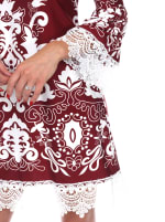 Uniss 3/4 Bell Sleeve Lace Hemline Dress - Burgundy - Detail