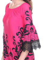 Uniss 3/4 Bell Sleeve Lace Hemline Dress - Fuchsia - Detail