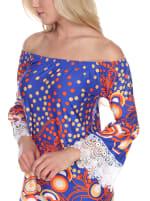 Lenora 3/4 Bell Sleeve Lace Hemline Dress - Royal / Orange - Detail
