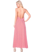 Backless Scoop Neckline Striped Maxi Dress - 10