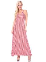 Backless Scoop Neckline Striped Maxi Dress - 9