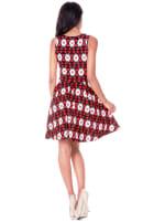 Crystal Bold Print Sleeveless Dress - Red / Black - Back