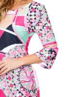 Nikki 3/4 Bell Sleeve Knit Dress - Mint / Pink - Detail