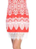 Diem Crochet Lace Hemline Tunic Dress - Red - Detail