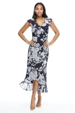 Mia Monotone Floral Garden Party Dress - Petite - 1