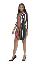 Veronica Three Quarter Sleeve Striped Shift Dress - Petite - 1