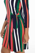Veronica Three Quarter Sleeve Striped Shift Dress - Petite - 3