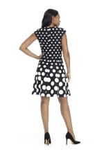 Ellie Cap Sleeve Dot Fit and Flare Dress - Petite - 2