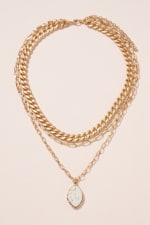 Stone Pendant Triple Layered Necklace - 4