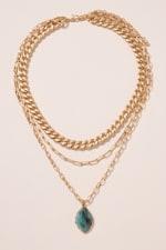 Stone Pendant Triple Layered Necklace - Amazonite - Back