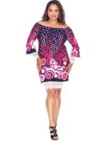 'Lenora' Long Sleeves Dress - Plus - 1