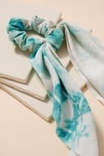 Tie Dye Print Scarf Pony - Blue - Back
