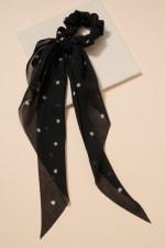 Floral Print Scarf Pony - Black - Front
