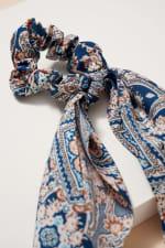 Floral Print Scarf Pony - Blue / Multi - Back