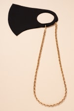 Gold Plated Suede Leather with Metal Chain Mask Lanyards - Brown - Front