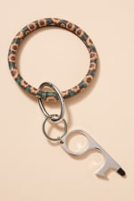 Leather No Touch Key Ring - Multi - Front