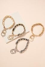 Chain Linked Leather Key Chain - 3