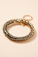 Snake Skin Print Metallic Leather Key Ring - Gold - Front