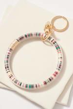 Rubber Beads Filled Tube Key Ring - Dark Multiple - Front
