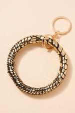Snake Skin Print Metallic Leather Key Ring - Gold - Back